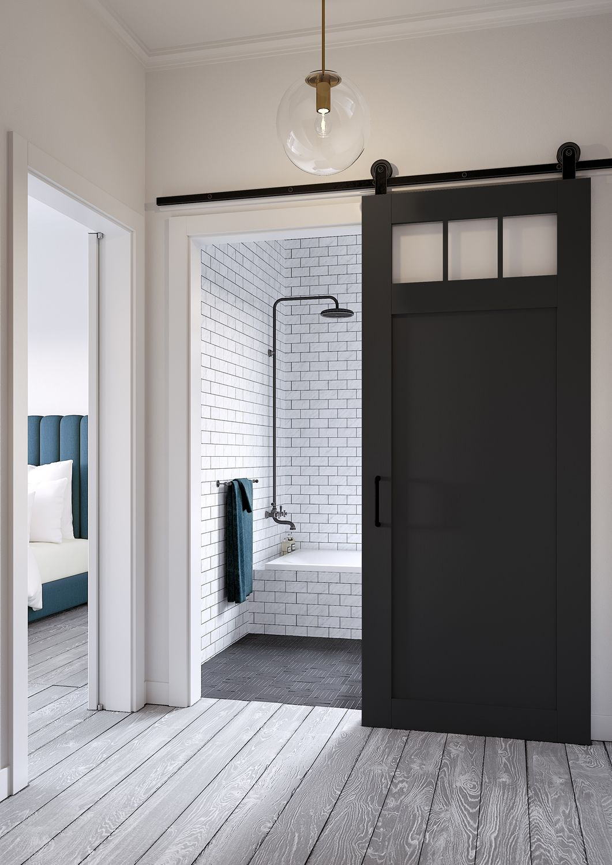 Jeff Lewis Design Craftsmanstyle barn door. … Interior