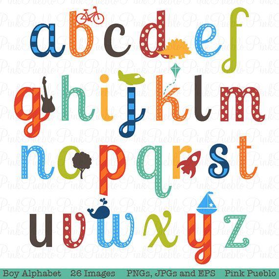 Boy Alphabet Letters, Scrapbooking Alphabet Clipart Clip Art ...