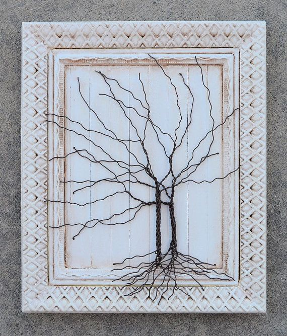 Framed tree wall art / wire sculpture Unique Art Decor Tree Abstract ...