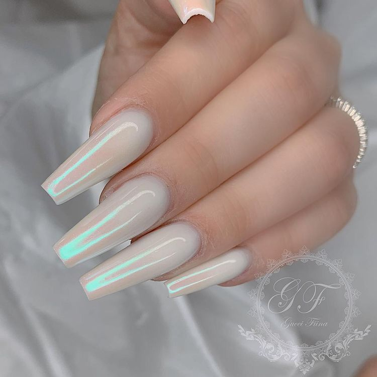 Iridescent White Nails Best Acrylic Nails Coffin Nails Designs Cute Nails