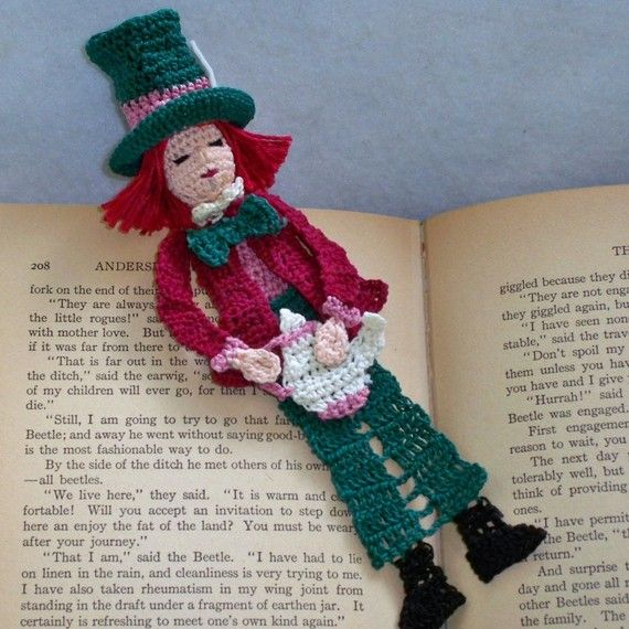 the mad hatter thread crochet bookmark by AndersonsCreations, $6.45 ...