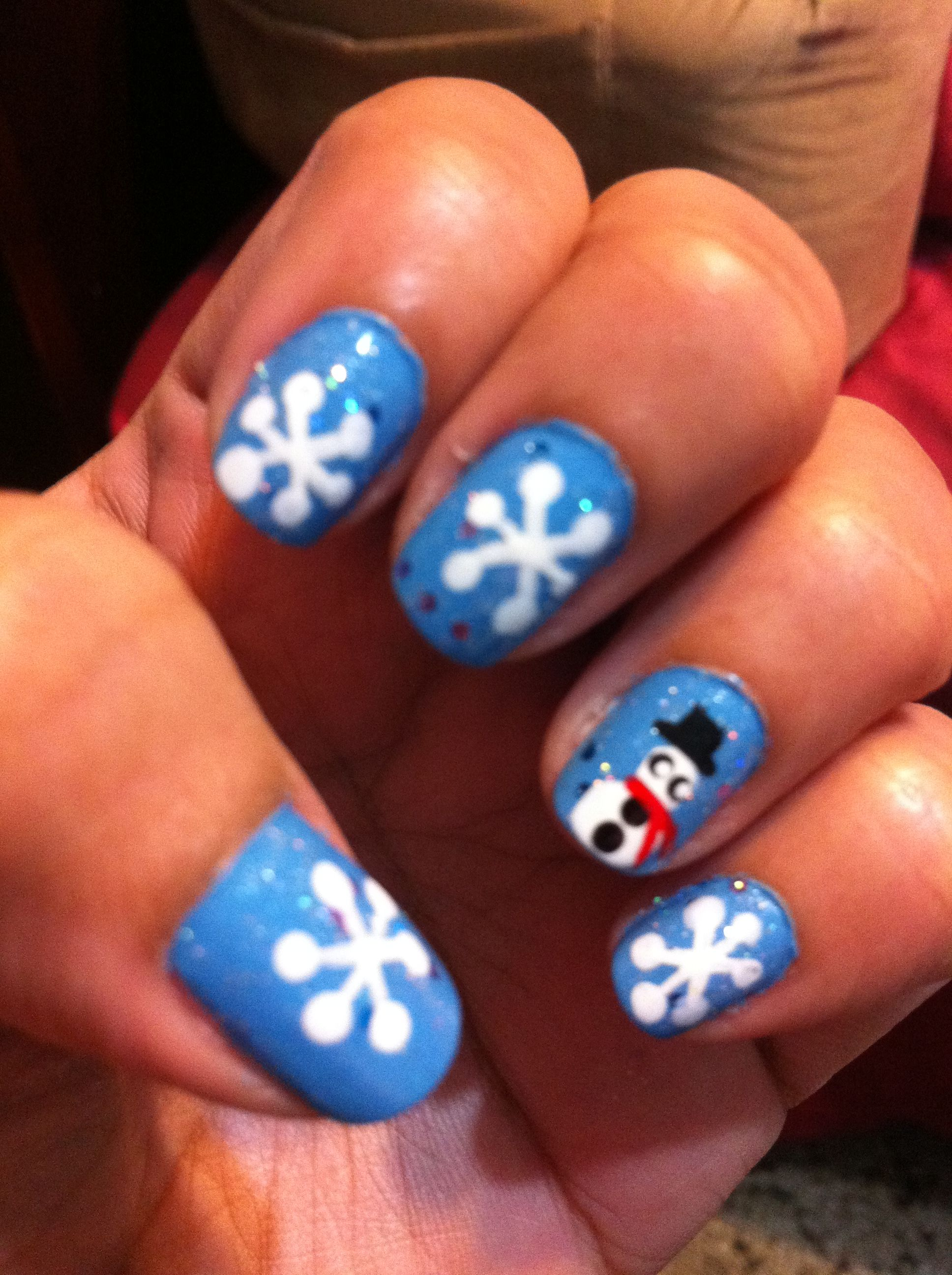 A cute winter snowman themed nail art!