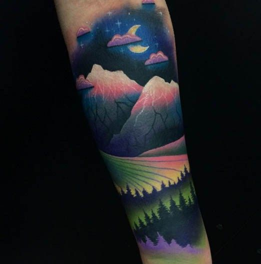 So beautiful. Tattoo by Giena Todryk #Inked #Inkedmag #tattoo #mountain #colorful #beauty #art #artist