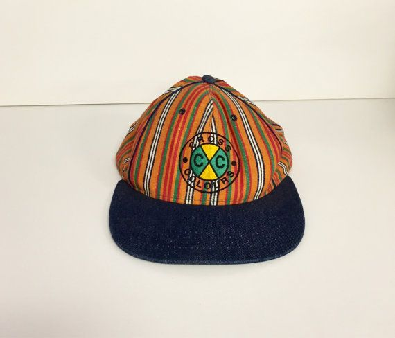 Vintage 90s cross colours hat striped colors by 216vintageModern 8038f5bf530
