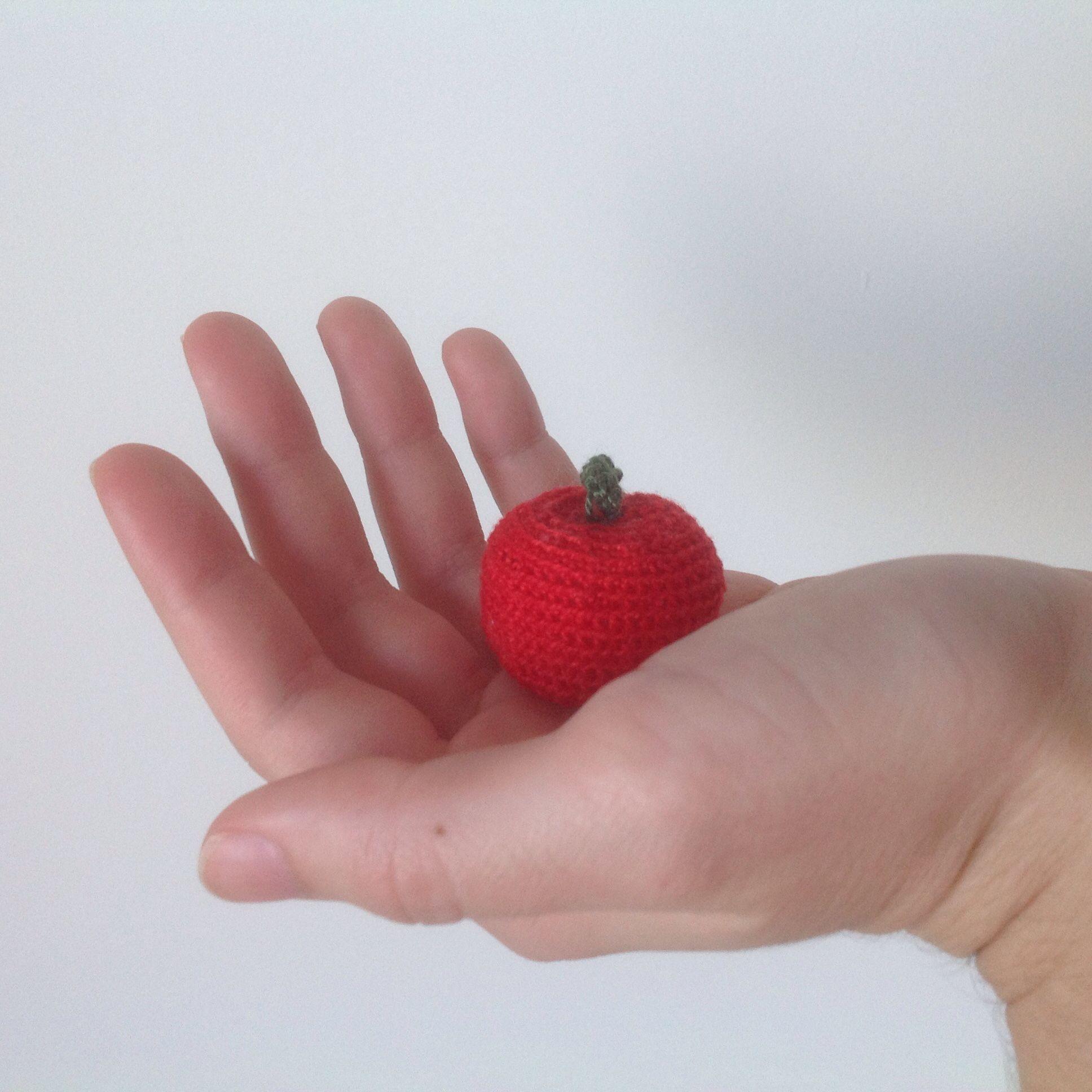 Maçã de Crochet feita à mão