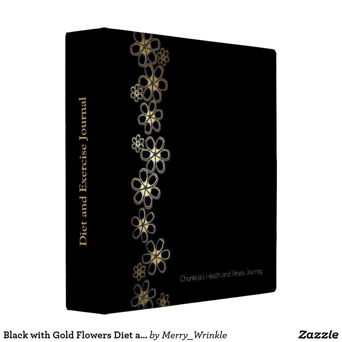 Black With Gold Flowers Diet And Exercise Journal 3 Ring