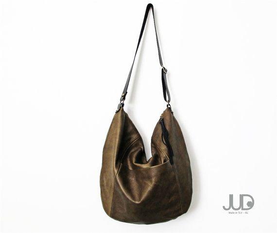 d47c7f04e238 Olive gray leather bag - crossbody leather bag purse SALE shoulder bag -  oversize bag - crossbody bag - hobo leather bag - brown leather bag