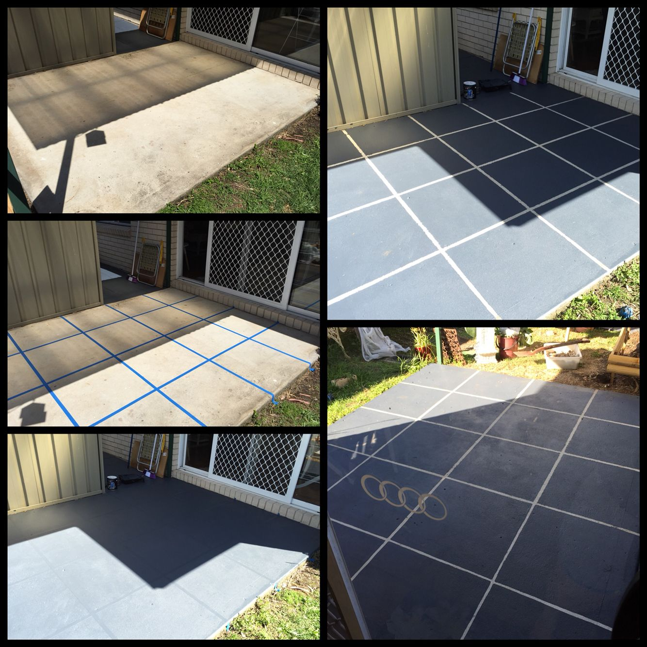 Diy Patio Revamp Give Your Concrete Patio Floor A Whole New Look With Some Tape And Paving Paint I Chose Larg Paint Concrete Patio Concrete Patio Patio Tiles