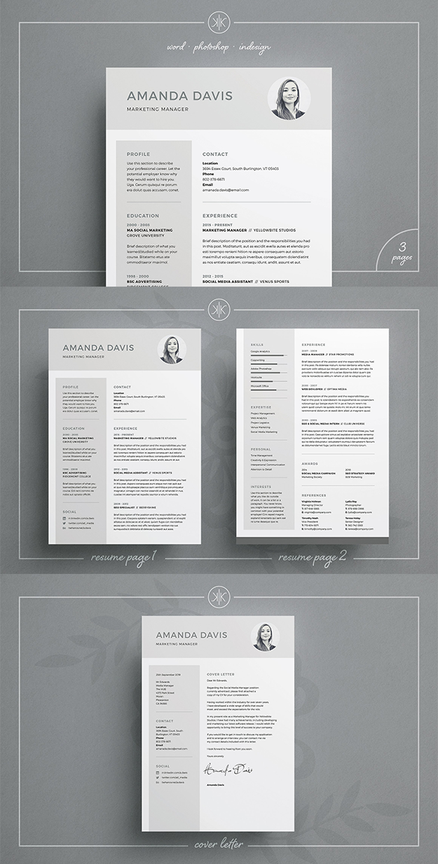 professional resume cv and matching cover letter template photoshop