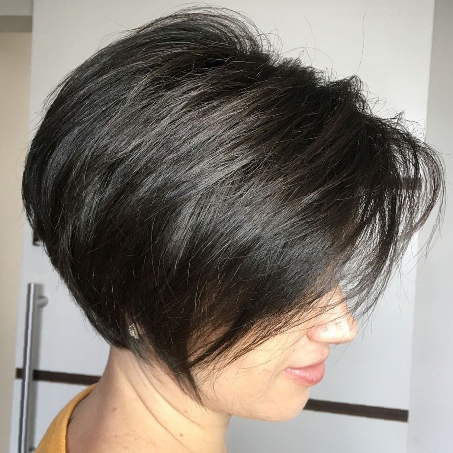 Jaw Length Inverted Brunette Bob Haircut For Thick Hair Short Hair With Layers Thick Hair Styles