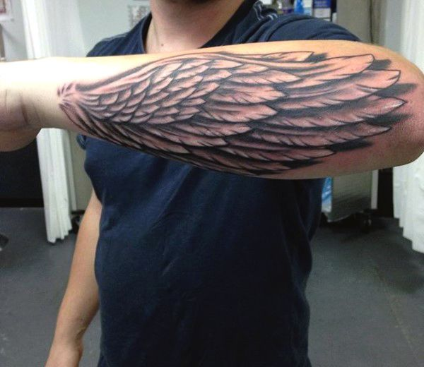 Cool Outer Forearm Wing Tattoo For Guys | Tattoos men ...