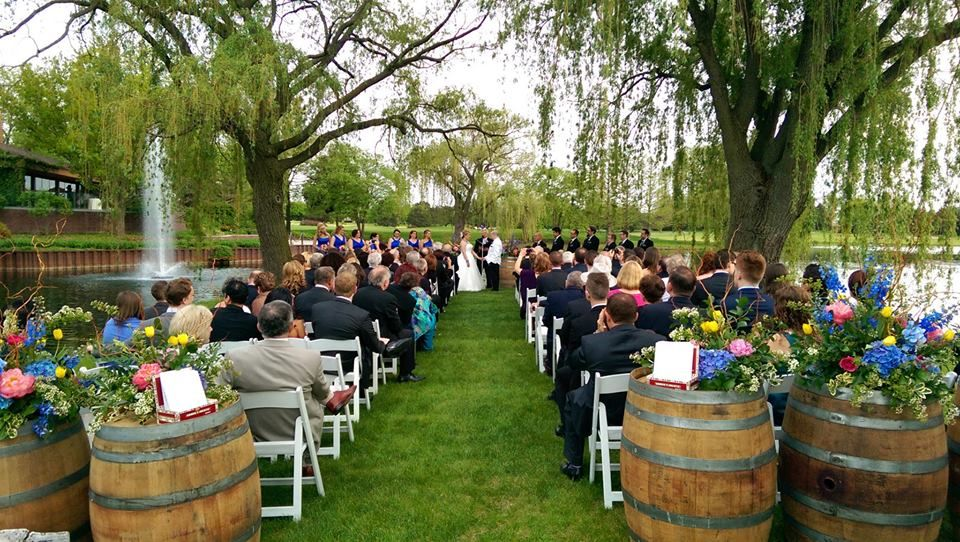 Wedding Ceremony At Kemper Lakes Golf Club Is On The Peninsula Looking Toward Reception Hall