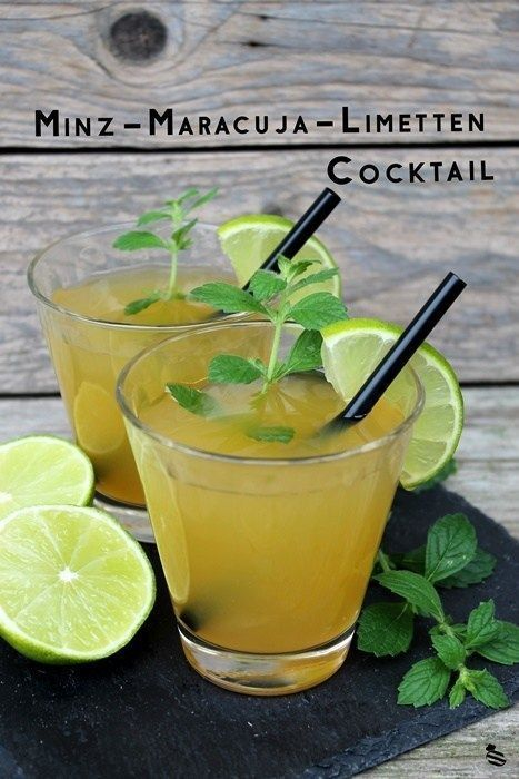 Photo of Alcohol-free mint-passion fruit-lime cocktail • Chocolate focus and sugar pearl