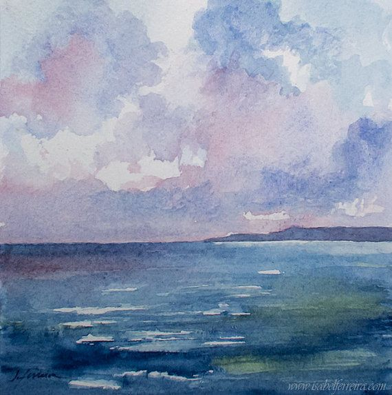 Original Watercolor Painting Calm Sea Beach Painting Seascape