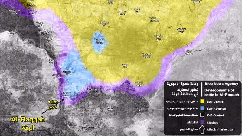 6 كم تفصل ميليشيا قسد عن مدينة الرقة Ps6 News Agency Map