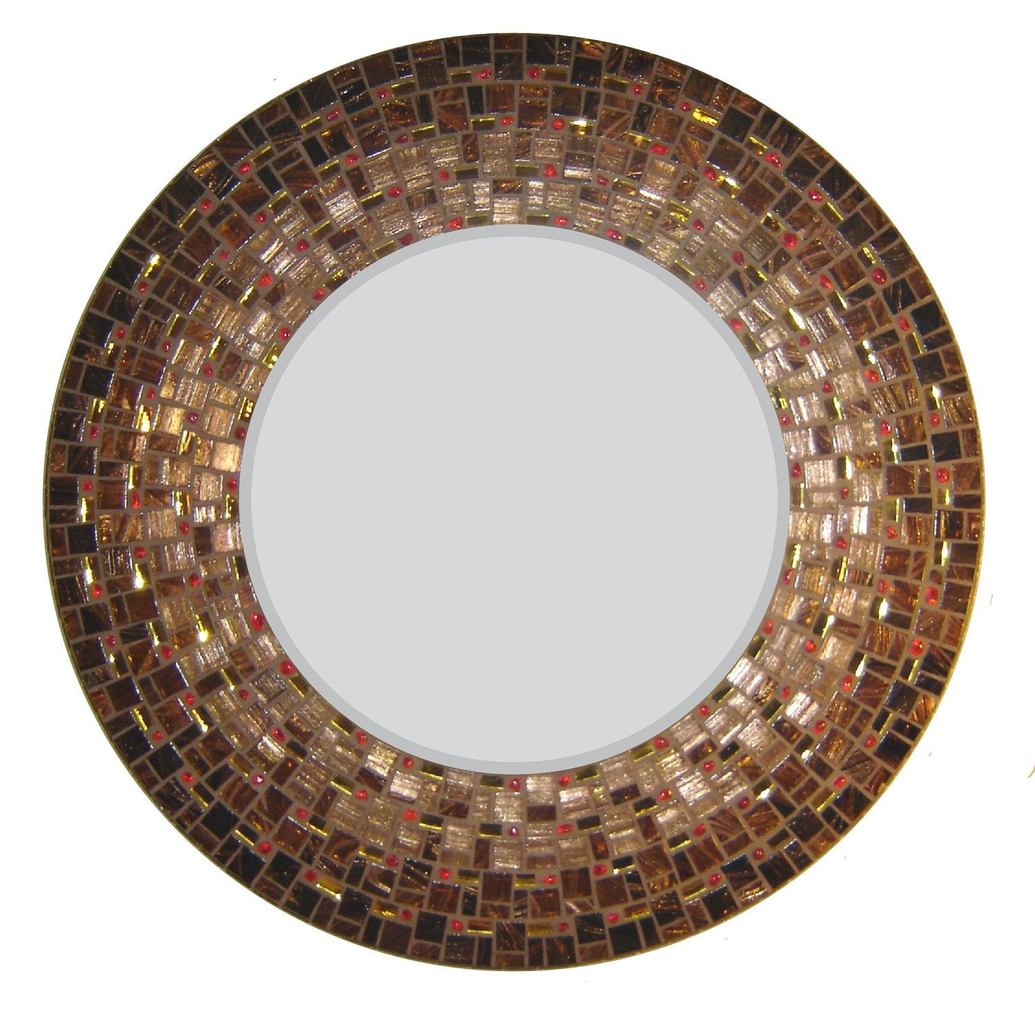 Moroccan mosaic mirror brown copper gold u red by opusmosaics