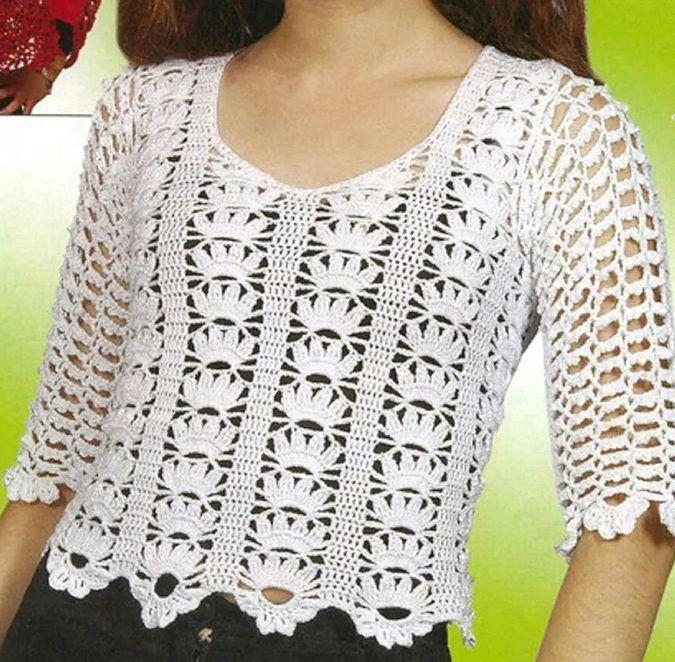 Patrón para tejer blusa a crochet en hilo de color blanca. Una blusa ...