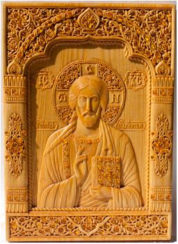 """Икона """"Господь Вседержитель"""", 24,8х17,7х1,5 см., древесина ..."""