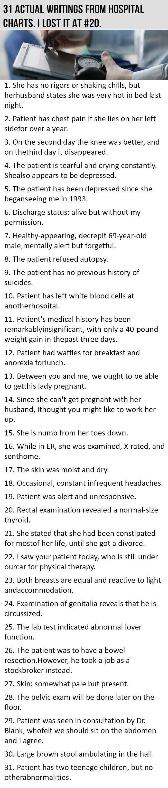 Actual Writings From Hospital Charts Funny Jokes Lol Funny - 30 dumbest sentences found in patients hospital charts