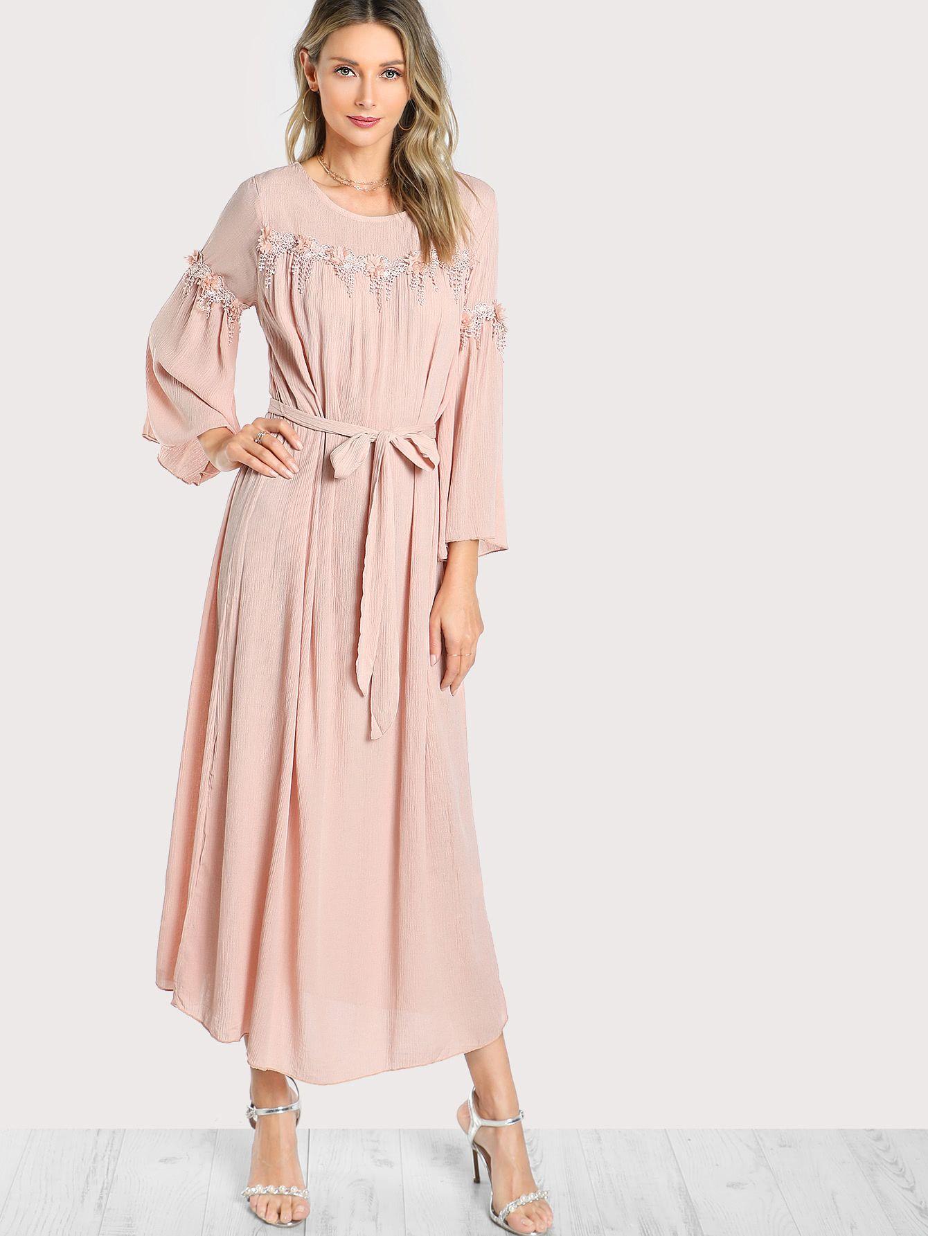 d8c1b14959 Shop Flower Applique Detail Hijab Evening Dress online. SheIn offers Flower  Applique Detail Hijab Evening Dress & more to fit your fashionable needs.