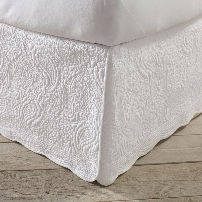 "Features:  -Machine washable.  -Drop Height: 18"".  -Scalloped edge.  Color: -White.  Material: -Polyester/Cotton.  Product Type: -Panel Bed Skirt. Dimensions:  Overall Product Weight: -3 lbs. Size Ful"