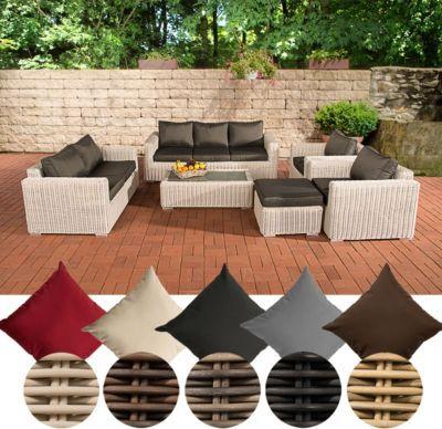 Poly-Rattan Loungemöbel Set MADEIRA XL, 3er Sofa + 2er Sofa + 2x