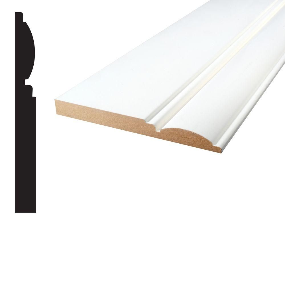 Alexandria Moulding 5/8 in. x 5-15/16 in. x 96 in. Primed MDF Base ...