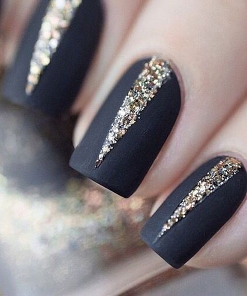 This matte black and sparkly new years nails are just perfect gradient nail art and silver glitter nail art designed in french tips stand out of the crowd with beautiful nail art decorated with glitter powder everyone prinsesfo Image collections