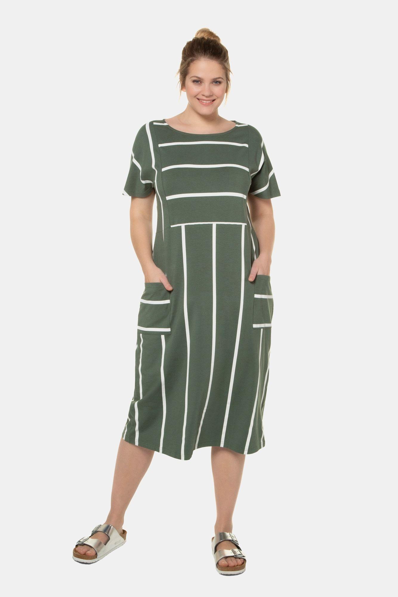 ulla popken kleid damen große größen grün / weiß größe 42/44