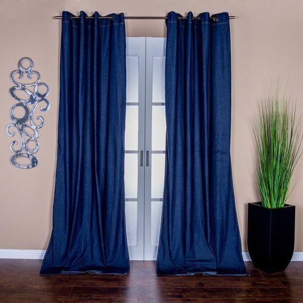 Capri Denim Grommet Top 96 Inch Curtain Panel Pair