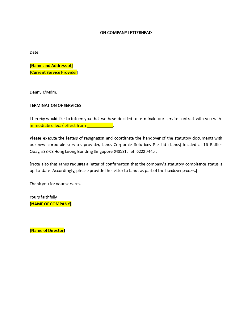 How To Write A Termination Of Service Letter Download This Sample Termination Of Service Letter Template Now Letter Templates Lettering Word Template