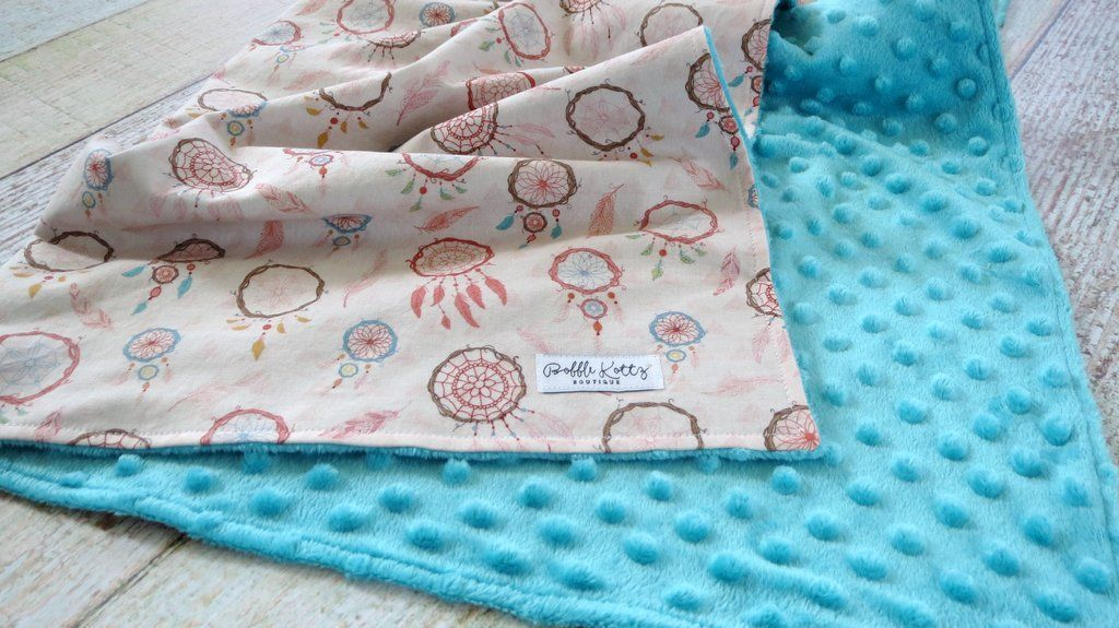Baby Girl Is Sure To Snuggle With This Dream Catcher Baby Blanket For Years To Come Super Stylish And Modern Turquoise Minky Blanket With Dream Catchers Is