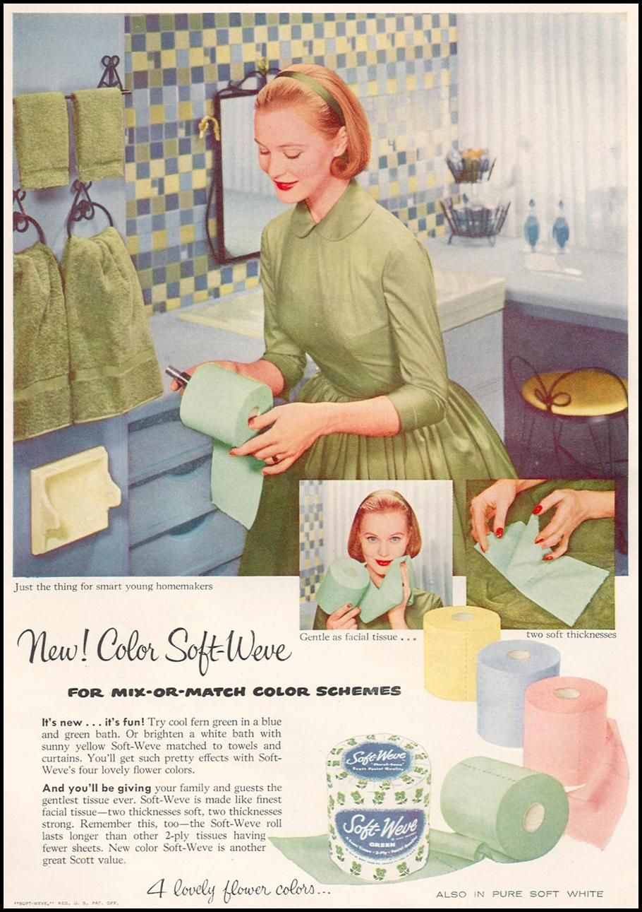 Vintage bathroom ads - Colored Tp Gentle As Facial Tissue 1956 Just The Thing For Smart Young Homemakers