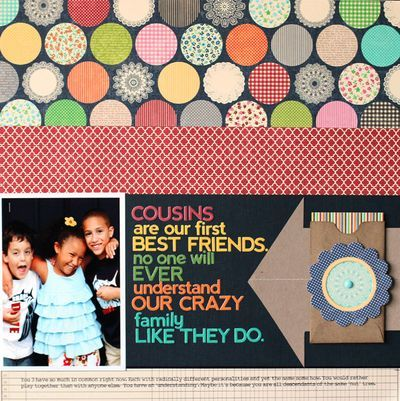 Cousins Layout by Nancy Damiano via Jillibean Soup Blog