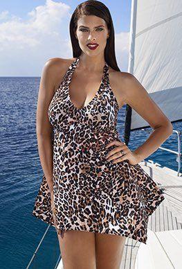 Swimdress - Tropiculture Cocoa Kitty Handkerchief Swimdress
