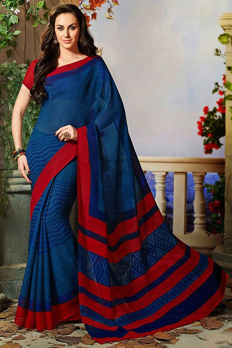 Blue art silk printed party wear saree with blouse at Easysarees.