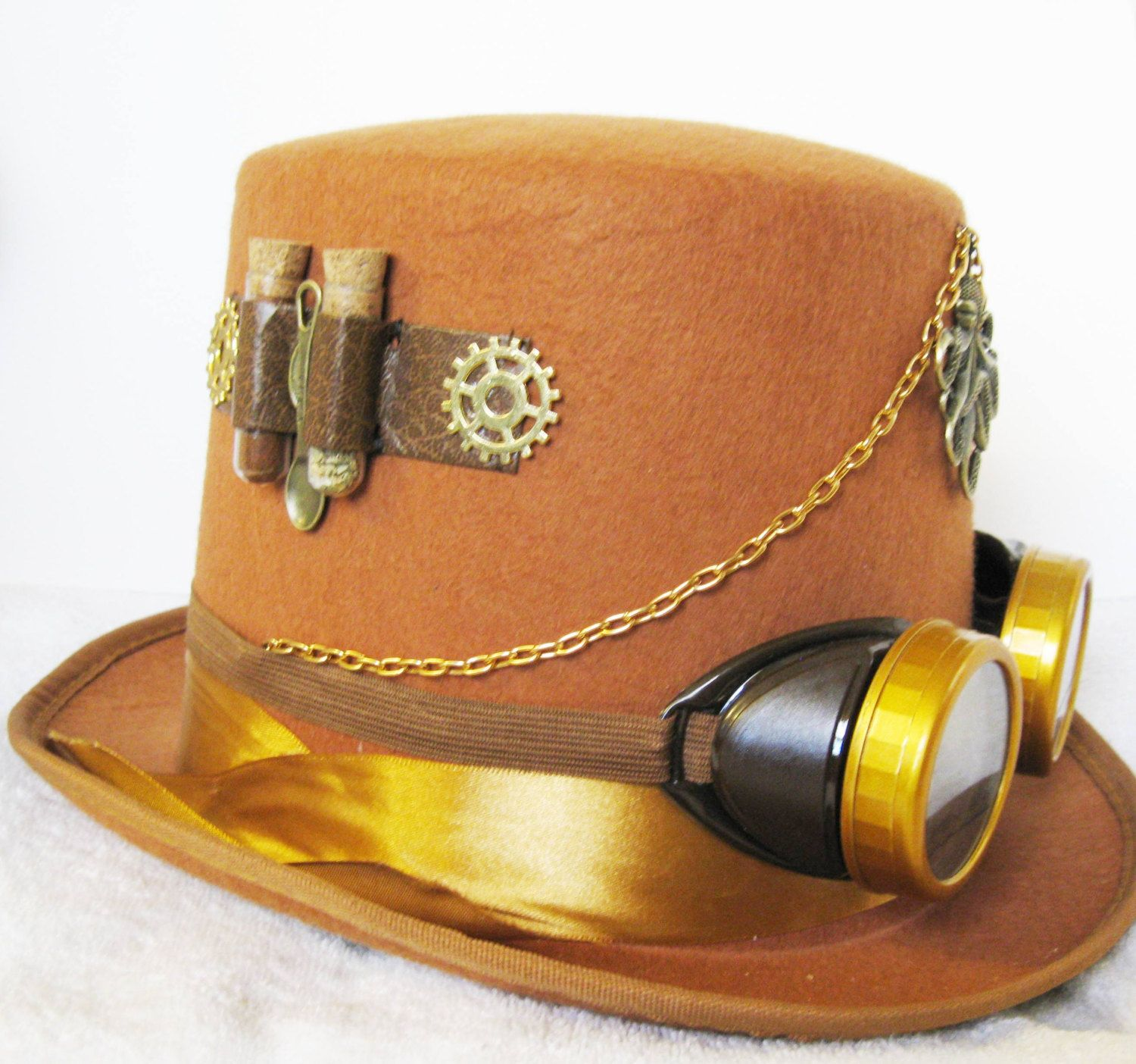 Steampunk Brown Octopus Top Hat with Gold Goggles.....FREE SHIP..... Cos Play, Hand Sewn Parts, watch parts Steam Punk, Gear, Cog by upcountryangel on Etsy