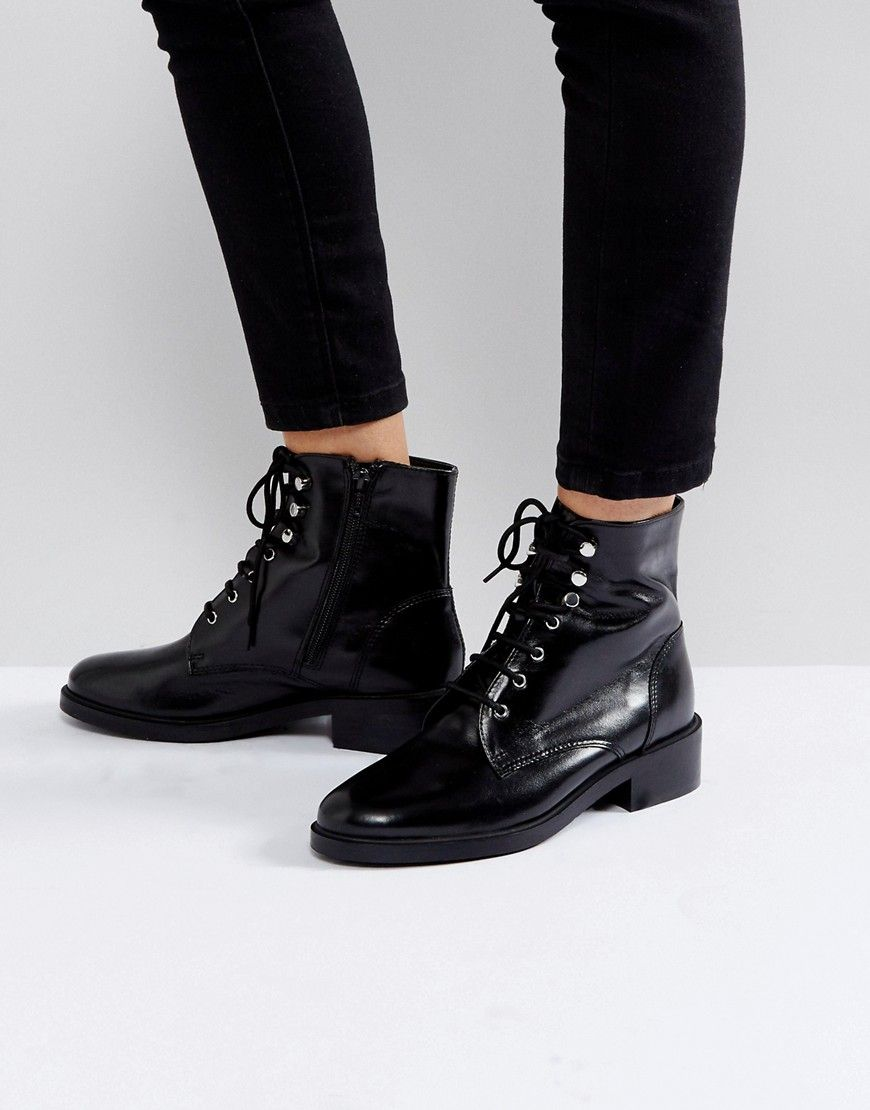 869f7f65887f10 Carvela Skewer Black Lace Up Military Boots - Black Buckle Boots