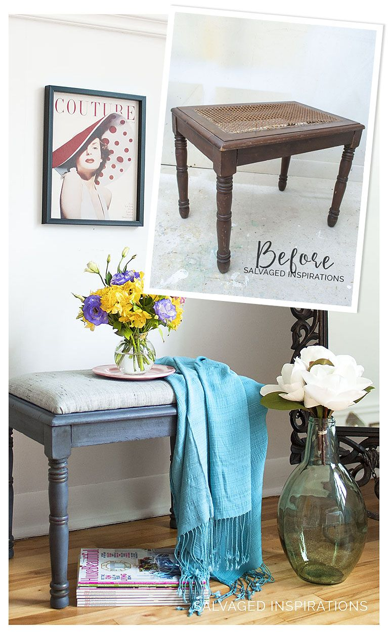 Diy Cane Bench Makeover W Upholstery Fabric Before After