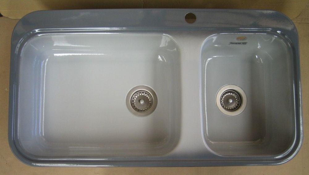 ALAPE Doppelbecken Doppel-Spüle GRAU   WEISS 92x50,5 cm - spüle für küche