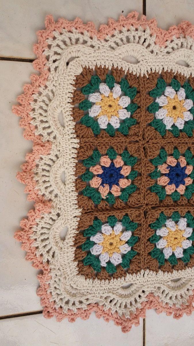 Tapete Retangular Em Croch Square Margaridas Cozinha Quarto Para  -> Tapete Para Sala Croche
