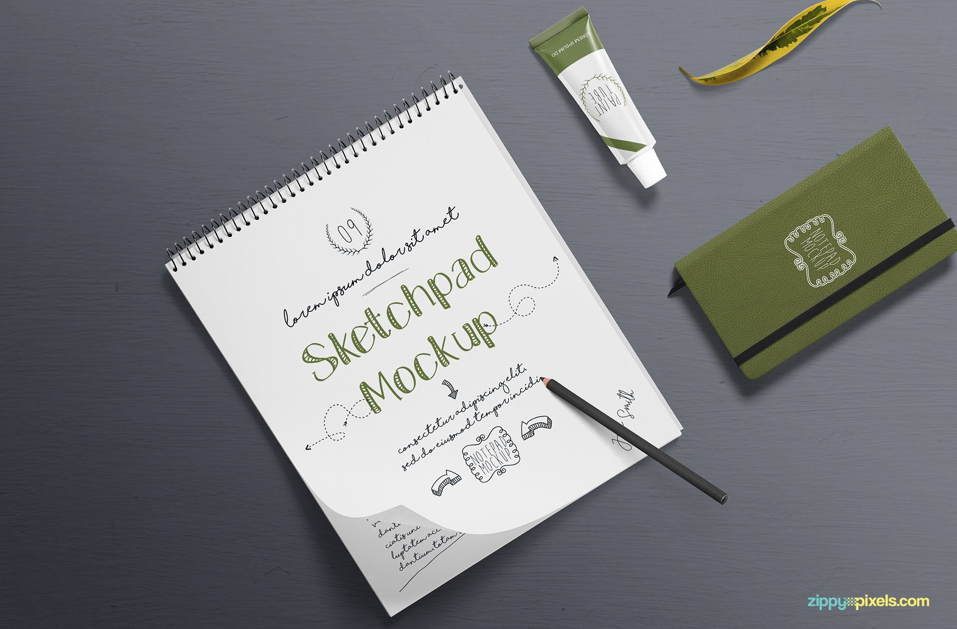 Free Realistic Sketchbook Mockup Zippypixels Stationery Mockup Free Design Elements Free Graphic Design