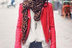 Red leather moto jacket, cheetah scarf, white tee