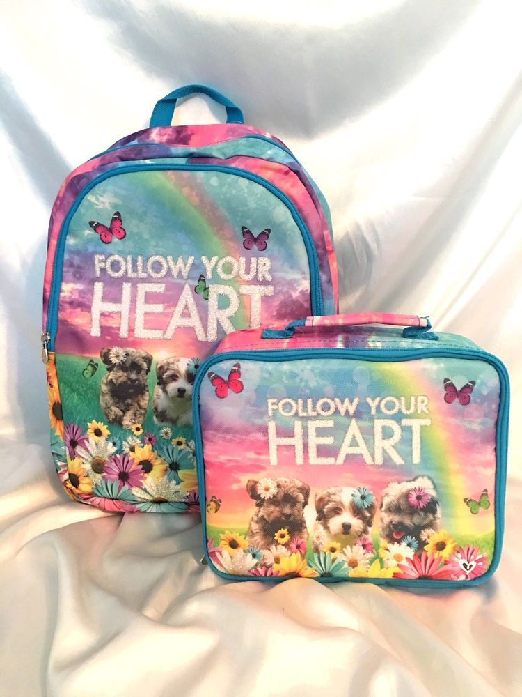 2edd3a61df56 NWT~JUSTICE GIRLS SCHOOL BACKPACK LUNCH BOX SET PUPPIES FLOWERS SO CUTE NWT   JUSTICEGIRLS