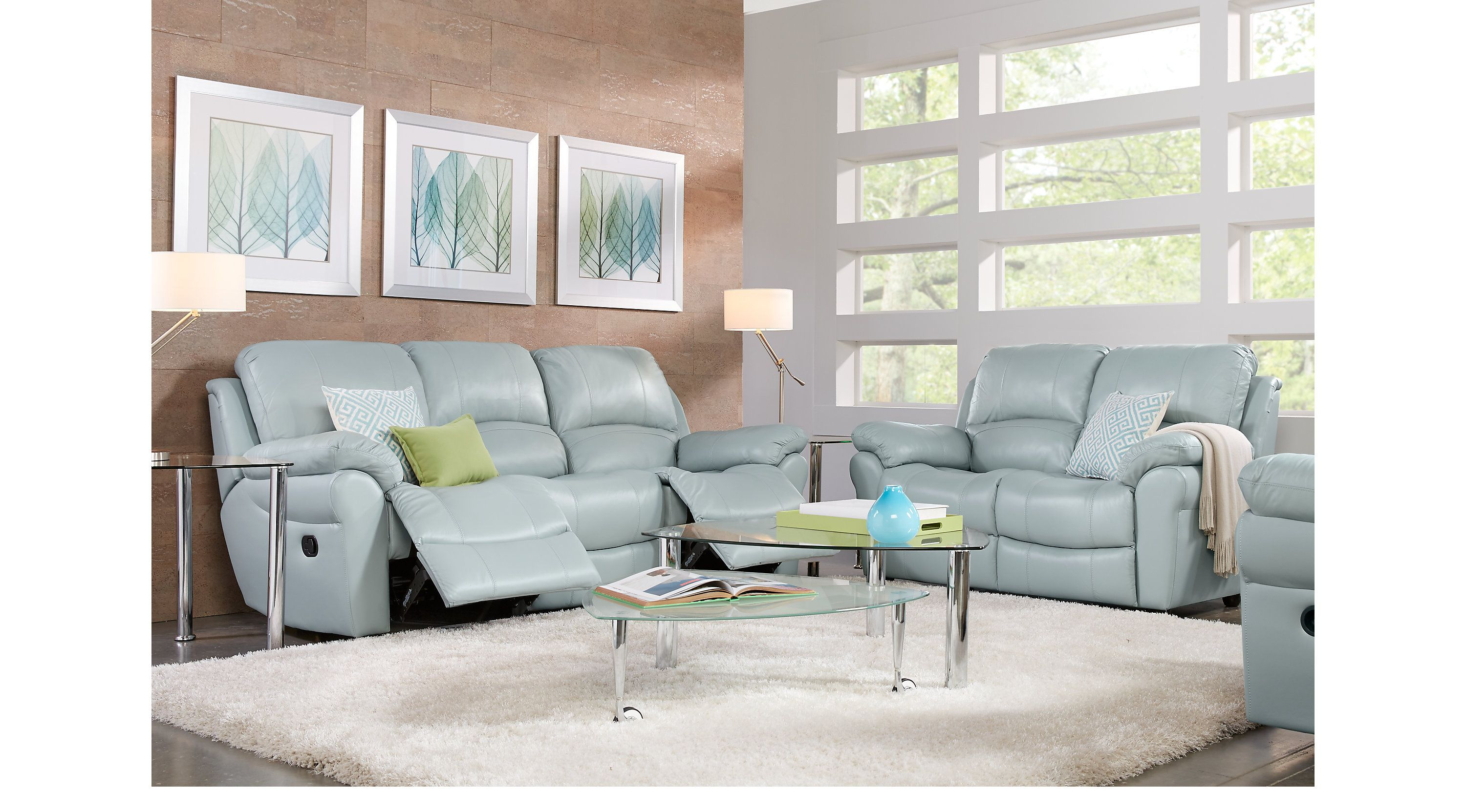 Rooms To Go Living Room Sofas Average Rug Size Vercelli Aqua Leather 5 Pc With Reclining Sofa In 2018 Blue