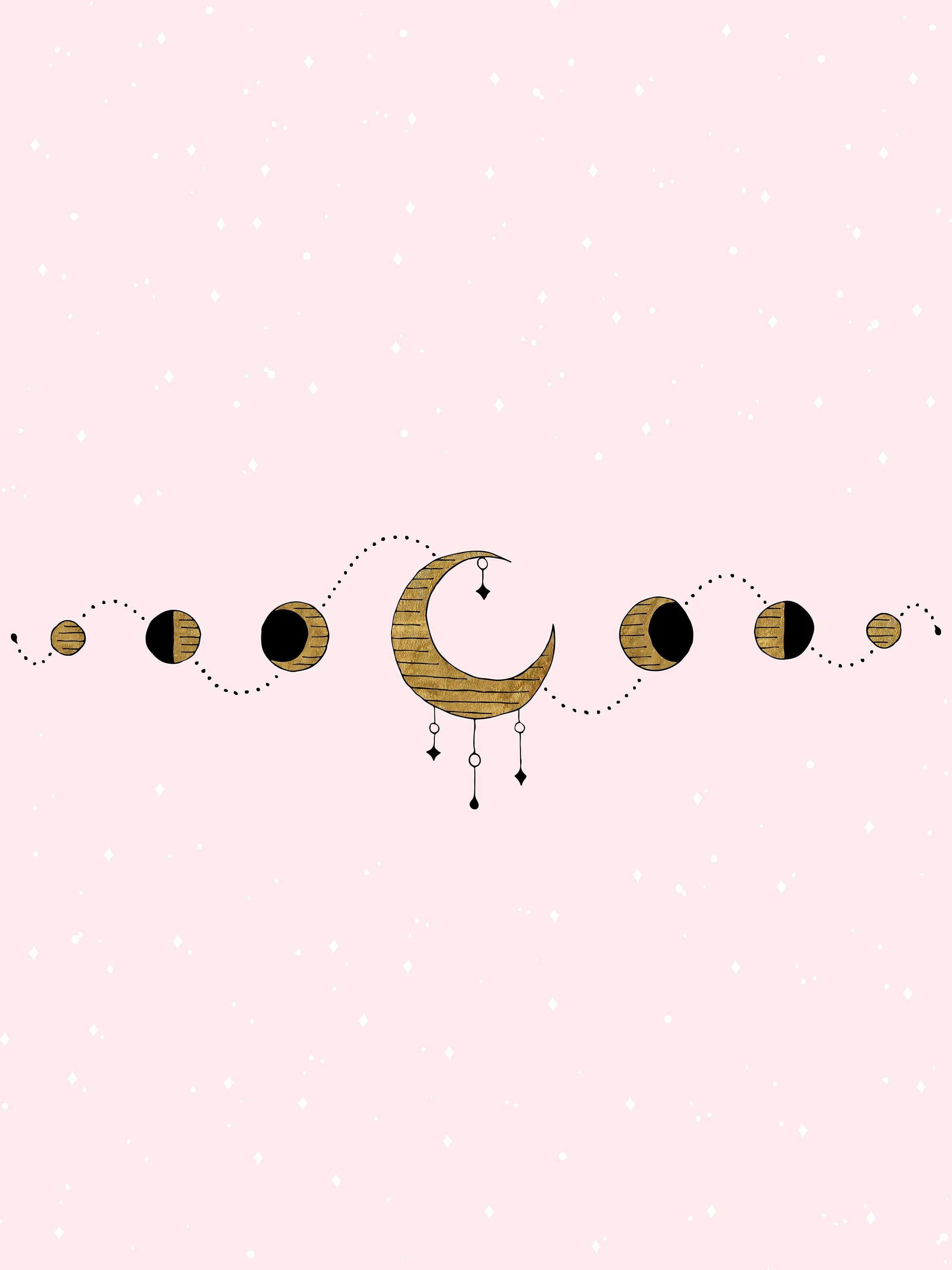 Moon Phase Desktop And Phone Wallpaper Witch Wallpaper Kawaii Wallpaper Phone Wallpaper