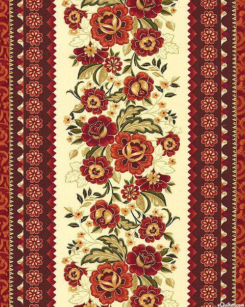 Rose Drama Stripe Cream Gold Pattern Art Boarder Designs Embroidery Inspiration
