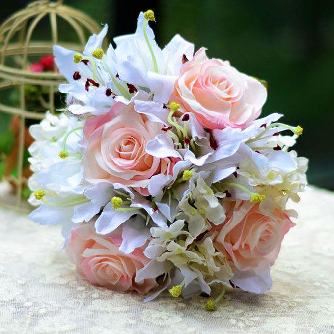 Kunstig Silke Simulering Blomst Brude Bukett Holde Blomster Lilje Rose Hortensia Bryllup Blomster