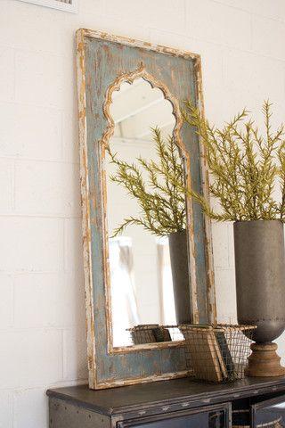 Kalalou Painted Wooden Mirror Kalalou Decor Modish