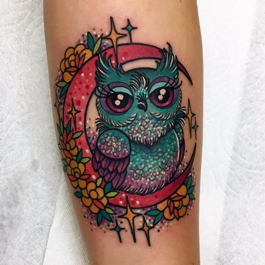 Sparkle Owl By Roberto Euan Robertoeuan Color Newtraditional Owl Bird Feathers Wings Roses Stars Moon Cute Owl Tattoo Baby Owl Tattoos Jewel Tattoo